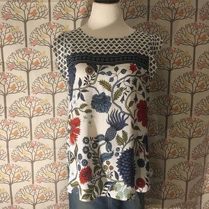 LOFT Ruffled Shoulder Sleeveless Print Blouse
